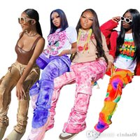 Designer Women Pants Straight Fashion Printed Trousers Tie Dye Multi Bag Bottoms Overalls 4 Colors