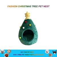 케네즈 펜 귀여운 크리스마스 트리 모양 고양이 개 집 소프트 아늑한 접이식 겨울 따뜻한 키티 동굴 동물 강아지 수면 매트 침대 선물
