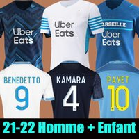 Camisa de futebol 21 22 Olympique De Marseille 2021 2022 Camisa de futebol OM MILIK CUISANCE BENEDETTO KAMARA THAUVIN PAYET ALVARO  masculino + infantil kit soccer jersey