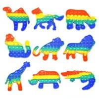 Décompression Educational Jouets Enfants Presse Rongent Pioneer Forme Animal Toy Bubble Music Rainbow Colors GYQ