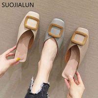 SUOJIALUN Mule Shoes Women Low Heel Slipper Leather PU Wooden Block Heel Open Shallow Loafers Slip On Casual Slides Sandal Shoes C0330