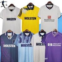 1991 1995 1998 2008 Totte Away Terceiro Camisas Retro Soccer Jersey Mabbutt Sheringham Hazard Jason Cundy 91 91 94 Camisa de futebol clássico amarelo