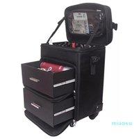 Koffer Frauen Große Kapazitätswagen Kosmetiktasche, Nägel Makeup Toolbox Rolling Koffer, Multifunktions Schönheit Tattoo Box Gepäck