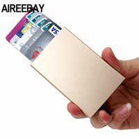 Card Holders AIREEBAY Mult-card ID Holder Solid Color Automatic -up Anti-theft Bank Box Mini Business Case Cardholder Women