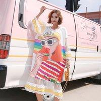 Повседневные платья Прибытие Лето Высокое Качество Сладкие Простые Удобные Кружева Печать Сетки Лоскутная Женская Футболка Платье Vestidos Plus Размер