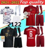 Jersey de football Bayern 21 22 Lewandowski Sane Munich COM0AN Muller Davies Davies Shirt Hommes Kit Kit avec chaussettes Humanrace