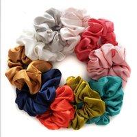 Pure silk elastic scrunchie for girls candy color princess hairbands children elastic ponytail holder designer women headbands 319 K2