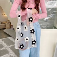 Women Embroidered Floral Handbag Translucent Organza Mesh Tote Shoulder Bags Daisy Casual Large Shopping Eco Bag For Female
