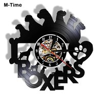 Wall Clocks Boxer Dog Record Clock I Love Boxes Silhouette Laser Cut Vintage Puppy Timepiece Christmas Decor