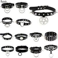 Chokers Est Initial Necklace PU Leather Black Goth Punk Rock Choker Necklaces For Women Men Hip Hop Bondage Cosplay Festival Jewelry
