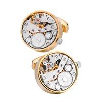 Functional Movement 1 Pair Set For Mens Wedding Groom Watch Mechanism Gear Shirt Cuff Suit Sleeve Cufflinks Relojes