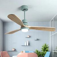 Nordic Creative Led Plafond Ventilateur de plafond Moderne Trois Couleur Changement Salon Restaurant Café Lampe en bois avec télécommande
