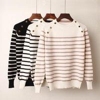 Женские свитеры Bygouby мода полосатая осень зимняя пуловер женщин свитер о-шеи трикотажные джемпер с длинными рукавами женские