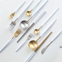 Cutelaria da faca da faca da colher de casamento alça branca ouro de ouro 18 8 Talheres de alfinetes de talheres de aço inoxidável HWB10001