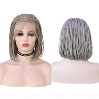 Carisma Synthetic Hair Grey BOB Caja Braidada Peluca trenzada Para Mujeres Negras Daily Lace Front Wig Micro trenzado Reemplazo Fibra de calor