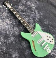 6 cuerdas rickenback guitarra espuma de mar verde 2 pastillas Ricken Electric-Guitar Guitar Top Calidad Semi Hollow Cuerpo Ric Guitarra con Pickup de barbacoa