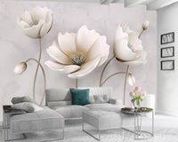 Özel 3d Çiçek Duvar Kağıdı Nordic Zarif Çiçek Mermer Doku Ev Dekor Oturma Odası Yatak Odası Mutfak Duvar Duvar Duvar Kağıtları Kapsayan