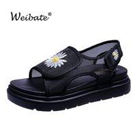 드레스 신발 Weibate 2021 여름 여성 플랫폼 샌들 캐쉬 카울 chunky 가죽 야외 해변 여성의 평면