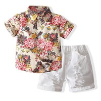 Boys Clothing Sets Boy Suit Children Outfits Summer Cotton Short Sleeve Flower Shirts Hole Shorts Pants 2Pcs 2-8Y B5066