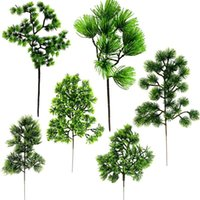 Artificial Pine Tree Branches Plastic Pinaster Cypress Grass Wedding Needle Leaves Wreath Leaf Branch Plants Home Office Decor Decorative Fl