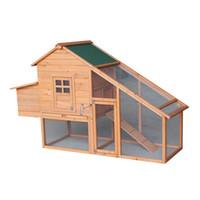 """75 """"coniglio in legno Hutch, Kennel di pollo a 2 livelli, Hen Pet Coop House Bunny Bunny Cortile Cortile con cassetta d'uovo Vassoio"""