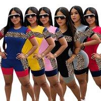 Women plus size Tracksuits 2 piece set summer clothes panelled leopard t-shirt shorts sweatsuit tee top capris sports sets pullover leggings bodysuit stylish 01457
