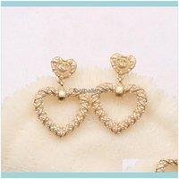 Jewelry 18K Gold Plated Fashion C Brand Designer Geometric Letters Stud Earrings Pierced Creativity Heart Tassel Women Pearl Earring Wedding