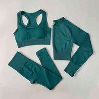 سلس المرأة ملابس ارتداء اللياقة البدنية رياضة مجموعة الملابس الداخلية رياضية طماق اليوغا الصدرية البدلة الرياضية