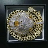 Mens Jewelry Hip Hop Iced Out Pendant Luxury Designer Necklace Bling Diamond Cuban Link Chain Big Pendants Lion Animal Rapper Accessories34