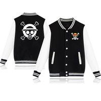 Schwarz Übergroßer Baseball Einteilige Jacken Mantel Hoodie Affe D.Luffy Sweatshirt Pullover Streetwear Anime Trafalgar Jersey Herren Hoodie