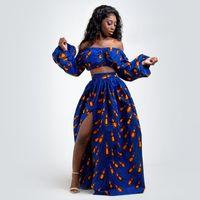 Conjuntos de 2 partes África Imprimir roupa de vestido para mulheres Dashiki Top Saia Tradicional vestidos de festa mais tamanho Africano roupas