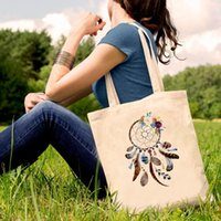 Storage Bags Dream Feather Print Canvas Tote Black Dreamcatcher Vogue Harajuku Casual Female Girl Eco Shopper Shoulder