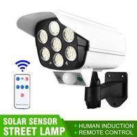 Lâmpadas solares Light Motion Sensor Sensor Dummy Camera Flood Wireless Outdoor IP65 À Prova D 'Água 77 LED Lâmpada 3 Modo Modo