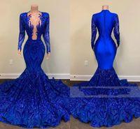 Kraliyet Mavi Mermaid Gelinlik Modelleri Sparkly Parlak Dantel Sequins Uzun Kollu Seksi Siyah Kızlar Afrika Trompet Akşam Ünlü Kıyafeti