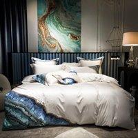 Design marino ricamo copripiumino di lusso 1000TC cotone egiziano in cotone 4 / 6pcs biancheria da letto morbida set da letto lenzuolo foglio foglio foglio grigio crema bianca set