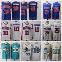 "2021 Men's Premium ""Pistons"" Camiseta de baloncesto Dennis 10 Rodman Isiah 11 Thomas Vintage 25 Rose Grant 33 Hill Retro Blanco Azul Verde"