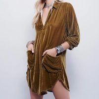 Elegante Velvet Suave A-Line Vestido Mujer Moda Flojo Sólido Cuello en V Camisa Damas Pocket Winter Warm Pullover Mini Vestidos Casual