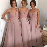 2021 Modest Cheap A Line Hi Low V Neck Beaded Long Bridesmaid Dresses Discount Satin Party Prom Dresses
