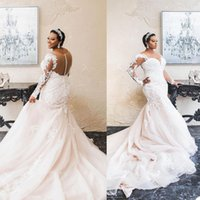 African Plus Size Mermaid Wedding Dress V Neck Long Sleeve Bridal Gowns robes de mariée Sheer Back Bride Dresses