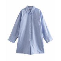 Psewe za blau shirt-style kurze overall frauen lässig frühling sommer 2021 tasche long sleeve spielsuits frau mode rieter