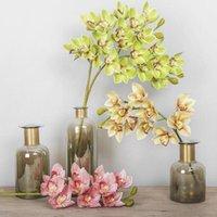Artificial Cymbidium Flower Ornaments Planta Folhas de Casamento Dia dos Namorados Presentes Antiguidade Home Decor Flores Decorativas Grinaldas