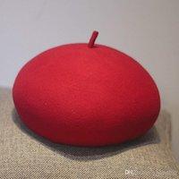 Reduktion av ålder 100% ullfilt Berett Solid Varmare Kvinnor Mössor Keps Klassisk Fransk stil Beret Femme Beanies Cap Ladies Fascinator Hat