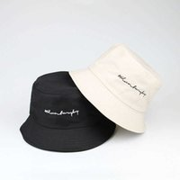Unisex Summer Bucket Hat Women Letter Embroidery Foldable Outdoor Sunscreen Cotton Fishing Hunting Cap Men Sun Prevent Hats Q0811