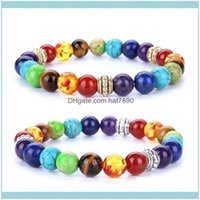 Jewelry100Percent All Natural Stone Lava Tiger Eye Beads 7 Chakra Bracelet For Women Men Yoga Buddha Player Bracelets Beaded, Strands Drop D