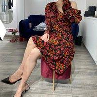 Casual Dresses 2021 Summer Women Off-Shoulder Vintage Mini Dress Ruffles Floral Printed Long Sleeve Female Short Ladies Robes