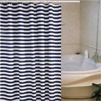 Striped Shower Curtain Nautical Marine Style Navy Blue And White Sailor Theme Geometric Pattern Art Print Fabric Bathroom Set Curtains