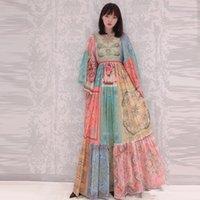 Yüksek Kaliteli Pist 2021 Yaz Ipek-Pamuk Konumlandırma Boyama Dream Süreç Tasarım Uzun Elbise Tatil 210105xp05 Günlük Elbiseler