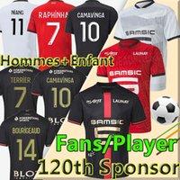 Rennes المشجعون لاعب النسخة 2021 Stade Rennais Soccer Jerseys 120th Anniversary Mailleots 20/21 Camavinga Bourigeaud Niang Da Silva Doku الرجال الاطفال عدة قمصان كرة القدم