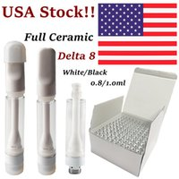 USA Stock Delta 8 TH205 Full keramiska vapenpatroner Atomizers Vita vagnar Tryck på skumförpackningspennor 510 Tråd E Cigarett tjock olja DAB-vaxförvandrare tom