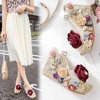 Сандалии женские летние клинья с цветком и густыми на высоком каблуке Женские туфли на каблуке прозрачные JOFS